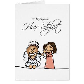 Wedding Bridal Hair Stylist Thank You, Stick Figur Card
