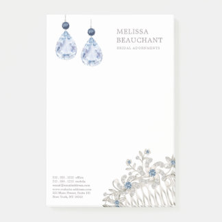 Wedding Bridal Jewelry Accessories Blue Earrings Post-it Notes