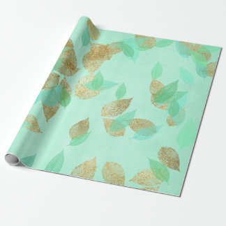 Wedding Bridal Mint Green Gold Falling Leafs Wrapping Paper