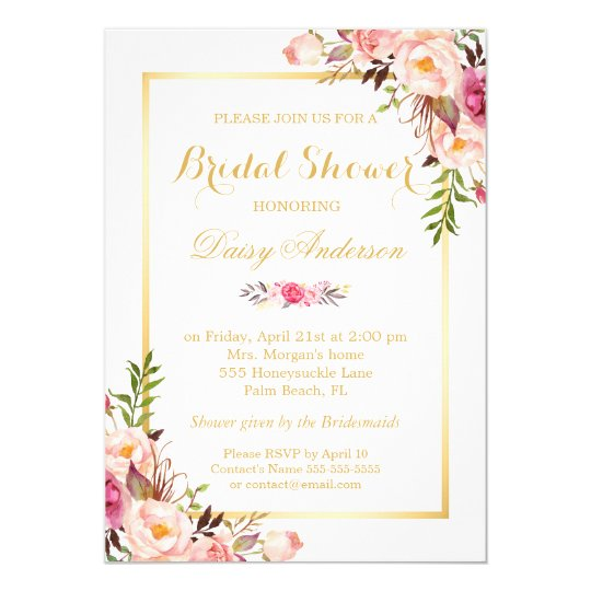 Wedding Bridal Shower Chic Floral Golden Frame Card Zazzlecouk
