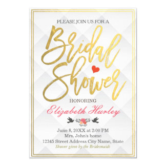 Wedding Bridal Shower Elegant Vintage Simply White Card