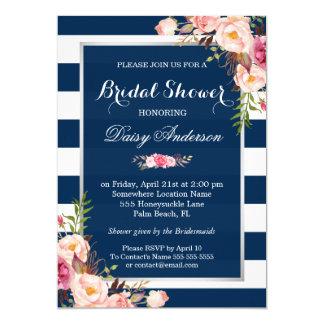 Wedding Bridal Shower Floral Silver Navy Stripes 13 Cm X 18 Cm Invitation Card