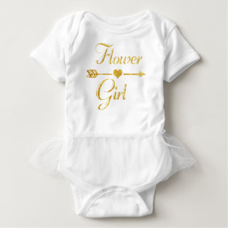 Wedding Bridal Shower Glitter Gold Flower Girl Baby Bodysuit