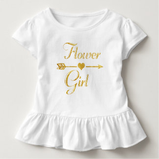 Wedding Bridal Shower Glitter Gold Flower Girl Toddler T-Shirt