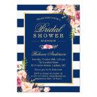 Wedding Bridal Shower   Navy Blue Stripes Floral Card