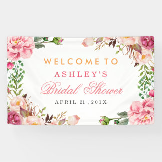 Wedding Bridal Shower Romantic Chic Floral Wrapped Banner