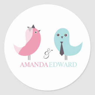 Wedding Bride and Groom Birds Sticker