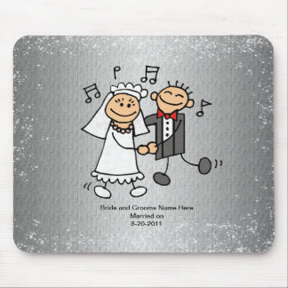 Wedding Bride and Groom Dancing - Smiling Mouse Pads
