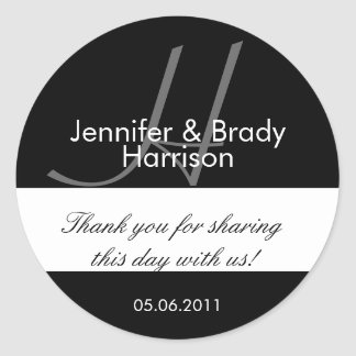 Wedding Bride and Groom Monogram H Favor Sticker