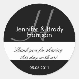 Wedding Bride and Groom Monogram H Favor Sticker