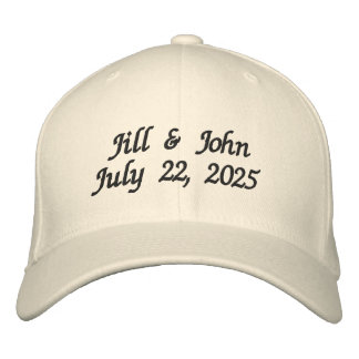 Wedding Bride and Groom Names Date Newlyweds Embroidered Cap