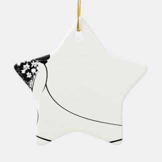 Wedding Bride and Groom Silhouette Ceramic Star Decoration