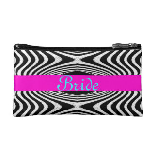Wedding Bride Chevron Zigzag Zebra Monogram B&W Cosmetic Bag