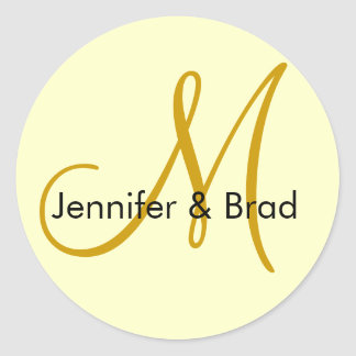 Wedding Bride Groom Ivory Gold Monogram Sticker