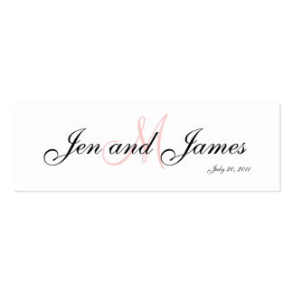 Wedding Bride Groom  Monogram Pink Profile Card Business Card Templates