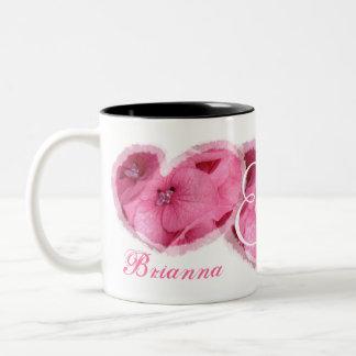 Wedding Bride & Groom - PINK Flower Hearts Two-Tone Mug