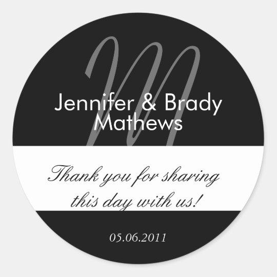 Wedding Bride & Groom Thank You Favour Sticker