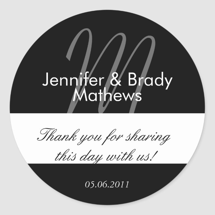 Wedding Bride & Groom Thank You Favour Sticker