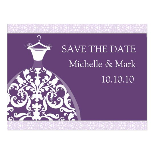 Wedding Bride Save the Date Purple Card Postcard