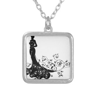 Wedding Bride Silhouette Design Silver Plated Necklace