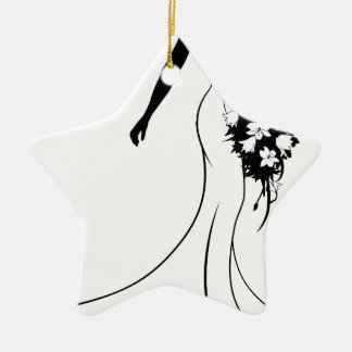 Wedding Bride Silhouette Holding Bouquet Christmas Ornament