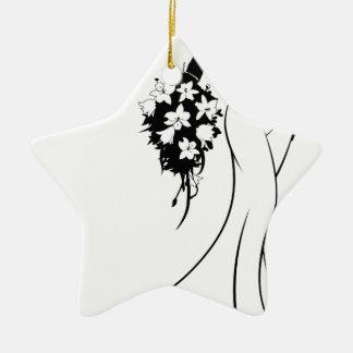 Wedding Bride Silhouette Holding Flowers Ceramic Star Decoration