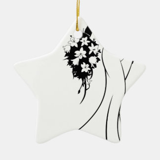 Wedding Bride Silhouette Holding Flowers Christmas Ornament