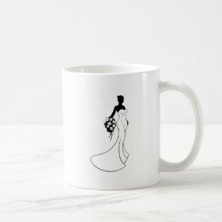 Wedding Bride Silhouette Holding Flowers Coffee Mug