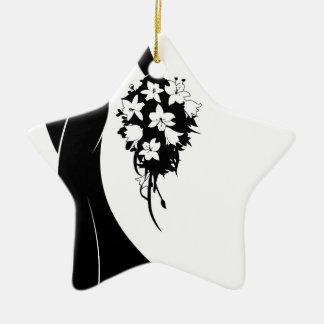 Wedding Bride Silhouette with Flowers Ceramic Star Decoration