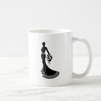 Wedding Bride Silhouette with Flowers Coffee Mug
