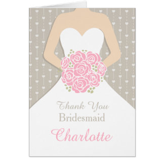 Wedding bridesmaid white dress thank you card