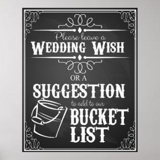 Wedding bucket list sign poster