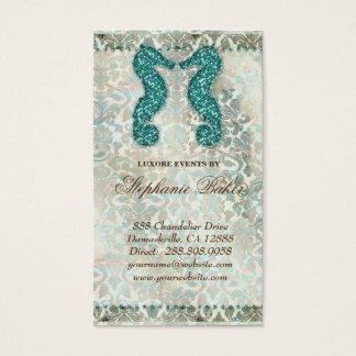 Wedding Business Card Beach Seahorse Vintage