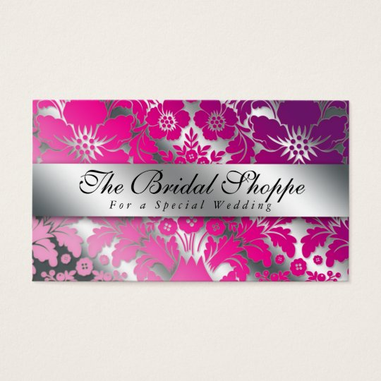 Wedding Business Card Damask Floral Silver PP