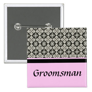wedding buttons, damask and pink strip color 15 cm square badge