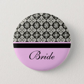 wedding buttons, damask and pink strip color 6 cm round badge