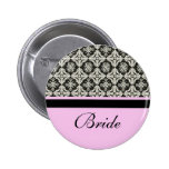 wedding buttons, damask and pink strip colour
