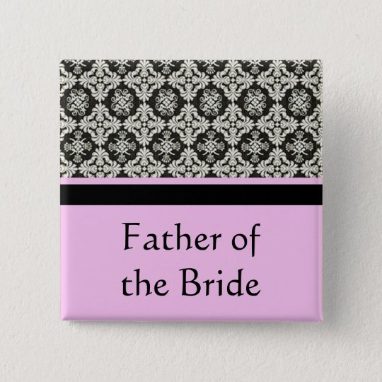 wedding buttons, damask and pink strip colour 15 cm square badge