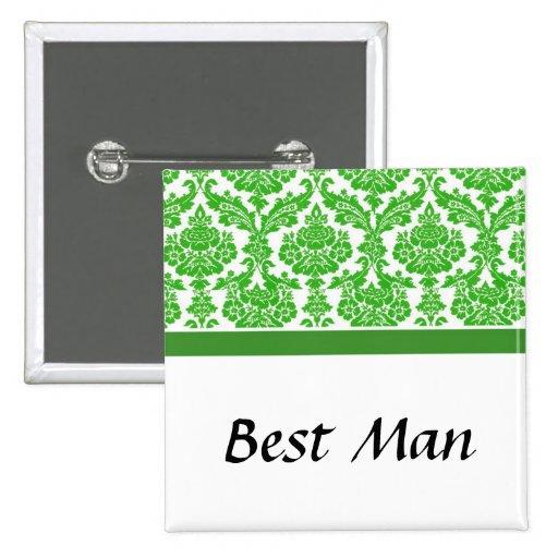 wedding buttons, green damask pinback buttons