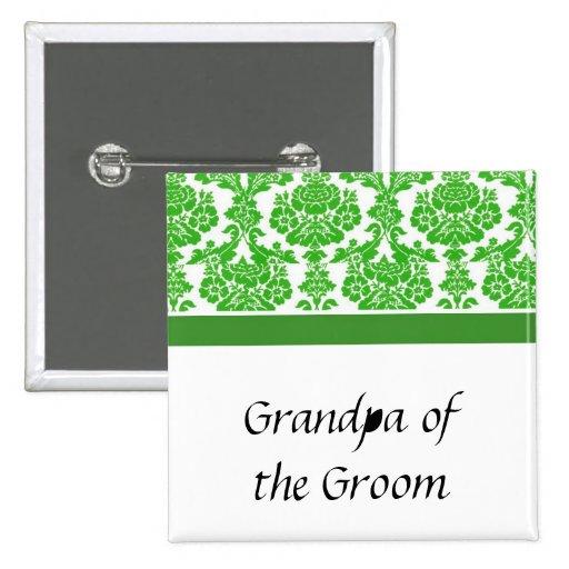 wedding buttons, green damask pinback button