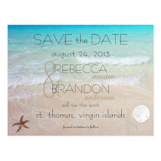 Wedding by the Sea Marriage Announcement Postcard