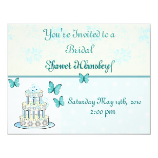 Wedding Cake and Butterflies Shower Invitation