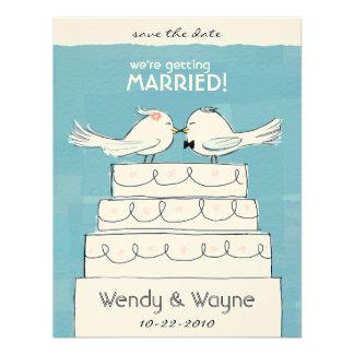 Wedding Cake Birds Bride Groom Invitation