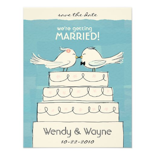 Wedding Cake Birds Bride & Groom Invitation
