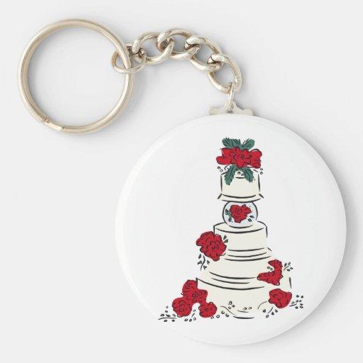 Wedding Cake Red Flowers Basic Round Button Key Ring