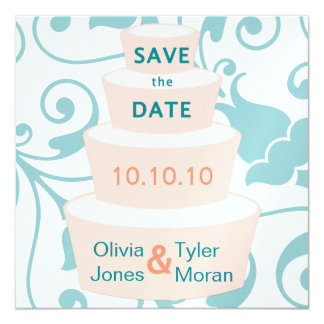 Wedding Cake Save the Date 13 Cm X 13 Cm Square Invitation Card