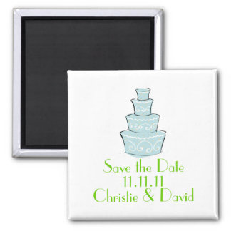 Wedding Cake Save the Date Square Magnet