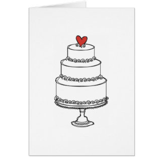Wedding Cake Sketch - Plain Card