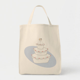 Wedding Cake Two Brides Grocery Tote Bag