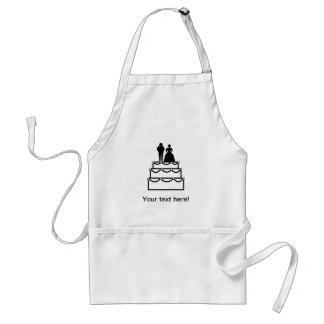 Wedding cake with bride and groom cartoon standard apron